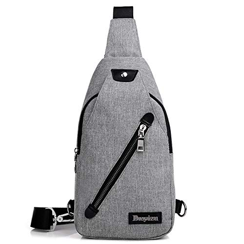 New Men's Chest Bag Business Casual Outdoor Canvas Polyester Travel Waterproof Small Backpack Gray