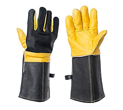 DEFENCES Animal Handling Gloves Bite Proof For Dog Cat Bird Snake Parrot Reptile, Perfect for Gardening/Welding/Stove14in. Cowhide Gauntlet Leather Cotton Lining Kevlar Scratch/bite