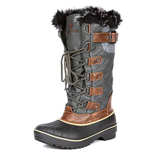 DREAM PAIRS Women's DP-Avalanche Khaki Faux Fur Lined Mid Calf Winter Snow Boots Size 10 M US