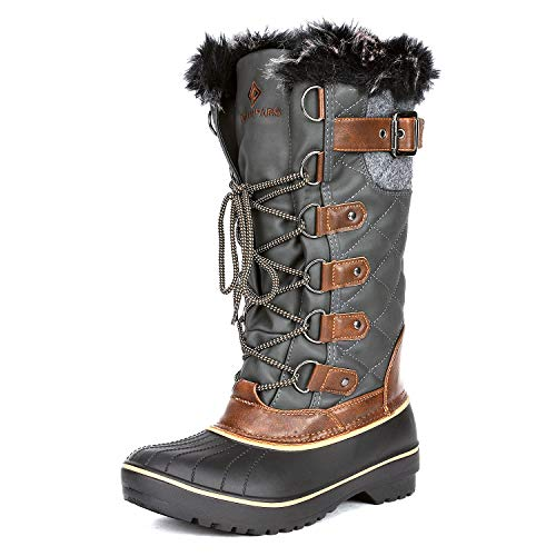 DREAM PAIRS Women's DP-Avalanche Khaki Faux Fur Lined Mid Calf Winter Snow Boots Size 8 M US