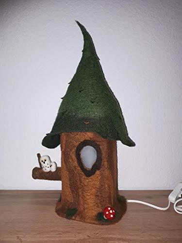 Märchenlampe Baum, handgefilzt, Tischleuchte, Nachttischlampe