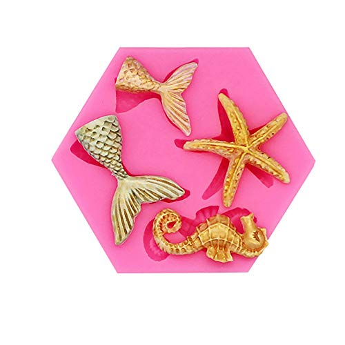 GILIGEGE Cake Fondant Mold Seahorse Seashell Conch Starfish Silicone Mold for Under The Sea Cake Decoration, Chocolate, Candy, Polymer Clay, Cupcake Decor, Sugar Craft Fondant Molds (Pink, 1PC)