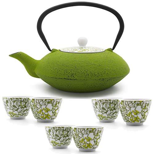 Bredemeijer Teekanne asiatisch Gusseisen Set grün 1,2 Liter mit Tee-Filter-Sieb und Teebecher (6 Tassen) Porzellan