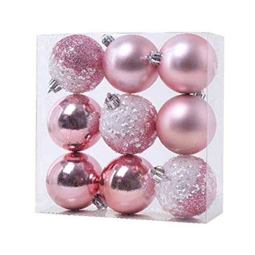 Lopbinte 9 adornos de bolas de Navidad, decoración de árbol de Navidad, bolas colgantes para el hogar, Año Nuevo, decoración de fiesta, 2.3 pulgadas, color rosa