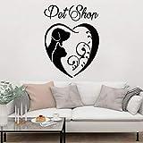 HGFDHG Tienda de Mascotas calcomanía de Pared Mejor Amigo Perro Gato Animal diseño de Interiores decoración Animal Lindo Arte Mural Vinilo Etiqueta de la Pared