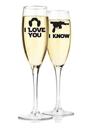 """Champagnergläser mit Aufschrift """"Mr and Mrs"""", Star Wars, inspiriert von """"I Love You I Know"""", 2 Stück"""