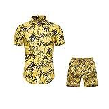 ZHFZHL Camisa de verano con estampado floral para hombre + traje de manga corta para hombre (color: amarillo, tamaño: código XXL)