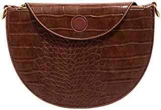 TOOGOO Vintage Crocodile Chain Bag Shoulder Messenger Bag PU Leather Semi-Circle Saddle Bag Handbag Coffee