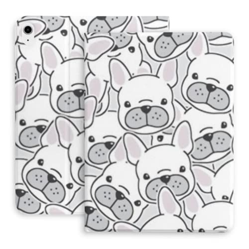 Case for Ipad Air 4th Generation Dog French Bulldog Puppy Face Head Fit Ipad Air 4 Case (10.9-inch, 2020)/fit Ipad Pro 11' 2018 with Pencil Holder,Trifold Stand Smart Case with Soft TPU Back