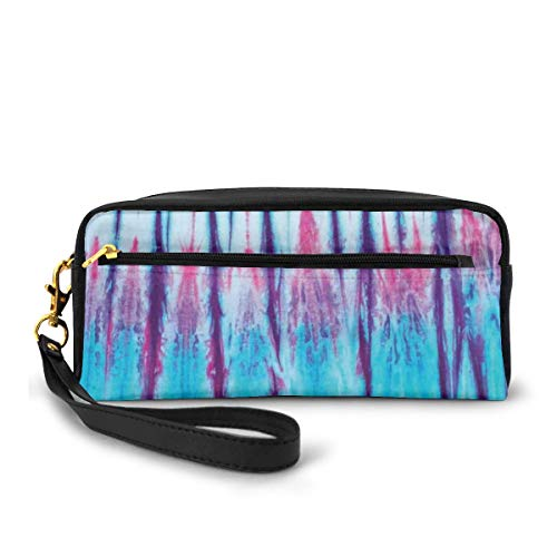 Pencil Case Pen Bag Pouch Stationary,Close Up of Vertical Gradient Tie Dye Effect Hippie Alter Life Retro Artwork Print,Small Makeup Bag Coin Purse