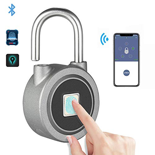 DYWLQ Rucksack Vorhängeschloss, Koffer, Tür, Fahrrad Smart Fingerprint Sperre, Bluetooth/App Keyless Unlock, wasserdicht, für Android/iOS, USB-Aufladung