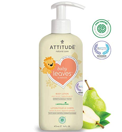 ATTITUDE Natural Baby Body Lotion for Sensitive Skin, EWG Verified, Hypoallergenic, Dermatologist Tested, Pear Nectar, 16 Fl Oz