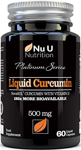 Capsule di Curcuma Curcumina con Vitamina D (Capsule Liquide) | Curcumina NovaSOL® 185 Volte Più Biodisponibile | Curcuma Curcumina Liquida (Non Compresse) Premium ad Alta Forza Vegetariane