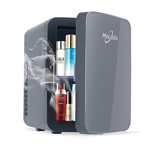 Mini Fridge Skincare Makeup Refrigerator - Small Portable AC/DC Freezer 10 Liter Glass Door Cooler & Warmer For Skin Care, Breastmilk, Medications, Bedroom, Car, Dorm