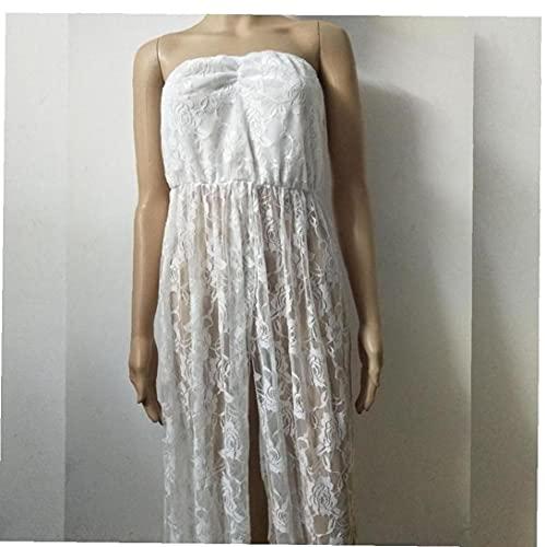 Aiyrchin De Encaje sin Mangas Vestido de fotografía de Maternidad Embarazada Vestido Maxi Cuello en V para Las Mujeres Embarazadas Blanca XL