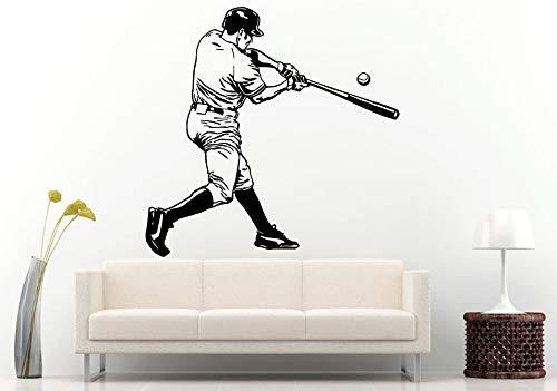 yiyiyaya Sport Wandtattoo Baseball-Spieler Mit Baseballschläger Wandaufkleber Wandhaupt Jungen Schlafzimmer Dekorative Vinyl Wandbild 57x70 cm