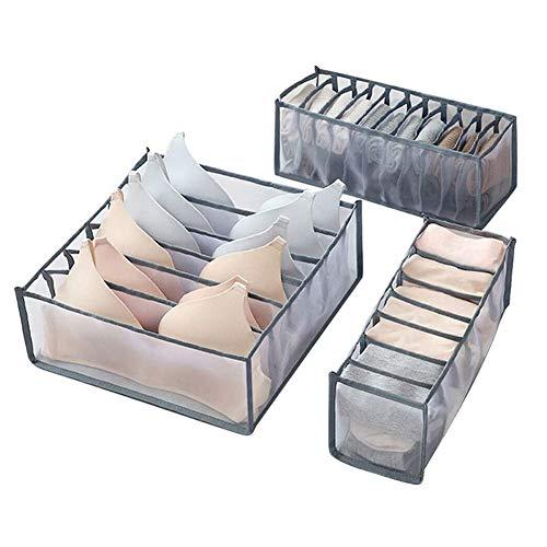 JSWANG Unterwäsche Aufbewahrungsfach Box Faltbare Nylon Gitter Trennboxen Schublade Schrank Organisatoren Sortieren BH Socken Schals 6+7+11 Grid Gray