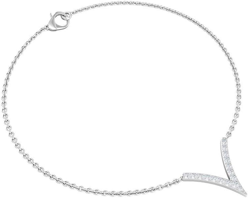 0.16 CT Pave Manufacturer OFFicial shop Diamond V Bracelet Sacramento Mall Women Shaped