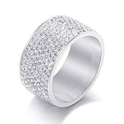 Jewelrysays 12MM Wide 8 Row Clear Crystal Ring Men Women Stainless Steel Iced Out Rings(Silver,6)