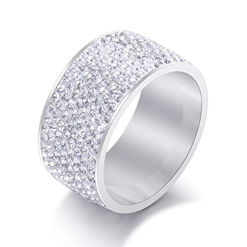 BVGA Anillo de acero de titanio con diamantes de acero inoxidable de color 12 + anillo de diamantes blancos para mujeres, niñas, hermanas, amigas, regalo significativo de joyería