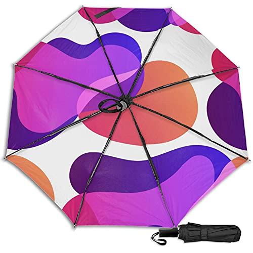 LYYNBLA ColorgeometricCompact - Paraguas de viaje con diseño manual, plegable, resistente al viento, para exteriores, lluvia y sol, Impresión interior., Taille unique