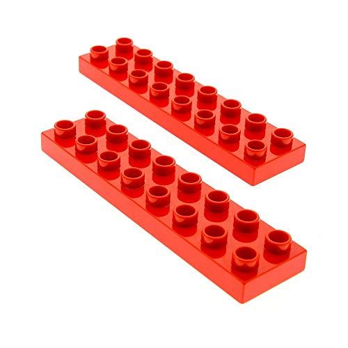 2 x Lego Duplo Bau Basic Platte rot 2x8 Stein für Set 6158 5795 5639 10504 9217 44524
