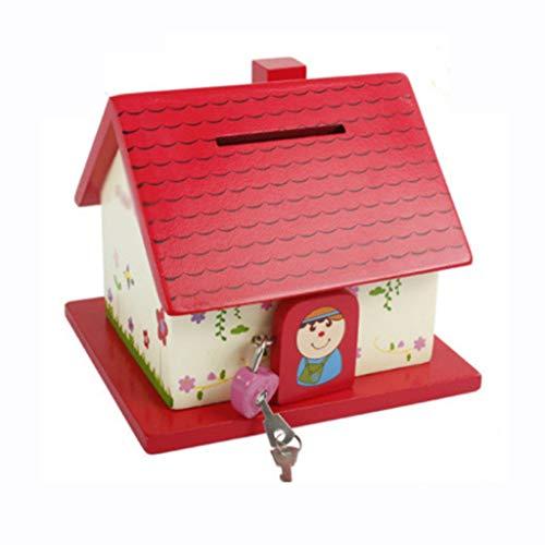 Hucha/Caja de Dinero Hucha De Madera Personalizada, Hucha con Cerradura, Caja De Dinero para Casa Pequeña, Regalo Divertido para Niños Y Niñas Banco de Dinero (Color : Red)