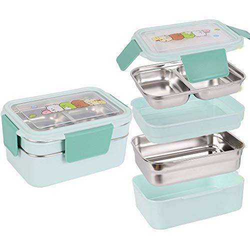 Kinder Lunchbox/Bento Box/brotdose schule mit Zwei Ebenen Edelstahl Lebensmittelbehälter Aufbewahrungsboxen Mit Löffel Für Kinder Kinder Erwachsene Büro Schule Camping