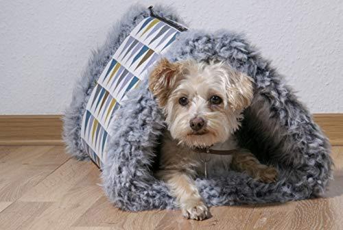 dobar 60391 Faltbares Hundebett mit Fell, Hundedecke und Hundehöhle, 85 x 50 cm, Grau