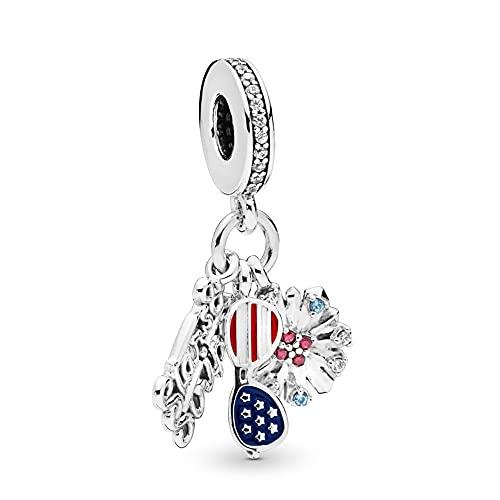 Pandora 925 colgante de plata esterlina Diy iconos americanos de plata esterlina cuelgan cuentas de abalorios se adapta a la pulsera de Pandora joyería de las mujeres que hace todo