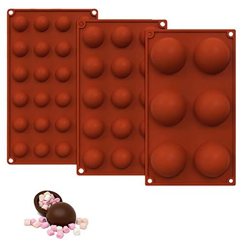 3 Piezas Juego de Moldes de Silicona Semiesfera,Cavidades Semiesferico,6/15/24 Cavidades Semiesferico,para Bola de Chocolate, Pastel, Gelatina, Pudín