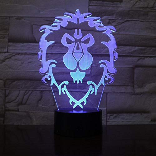 Wow Model Lion 3D Illusion Night Light LED Colourful Flash Touch Light Desk Lamp Game Toys