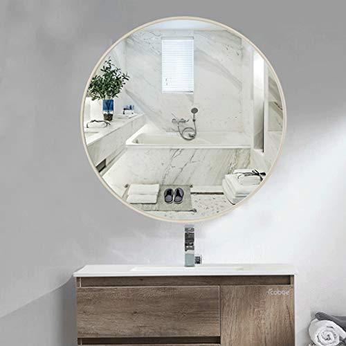 Espejo Redondo Pared Ba?o 60 Cm Diámetro Vaso Moderno Metal Marco Sencillo Diseño Vanidad Espejo para Dormitorio Sala (Color : Silver, Size : 60 * 60cm)