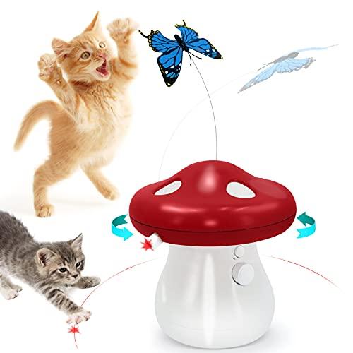 Sammiu Interaktives Spielzeug Katzenfederspielzeug Automatisches Katzenspielzeug 2-in-1-Katzenspielzeug mit Schmetterling, 360-Grad für Kätzchenkatzen in Innenräumen