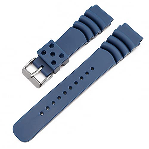 LINMAN 20 mm 22 mm Buceo Reloj de Reloj de Goma Hombres a Prueba de Agua Silicona Deporte Banda de muñeca Pulsera Reloj de Reloj (Band Color : Blue, tamaño : 22mm)