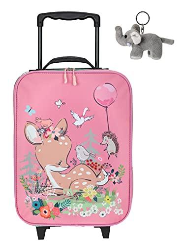 Trolley Jungen Mädchen Kinder Fabrizio Kindertrolley Kinderkoffer Spielkoffer 20582 ab 3 Jahren + Elefant-Anhänger (REH Rosa 20582-2300)