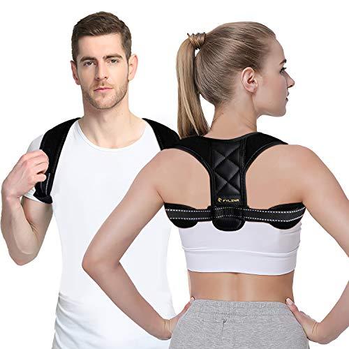 Haltungskorrektur, FYLINA Geradehalter zur haltungskorrektur Rückenstütze schulter Haltungstrainer Rückenstabilisator Haltungskorrektur rücken Damen Herren Größenverstellbar (mit 2 Schulterpolster)