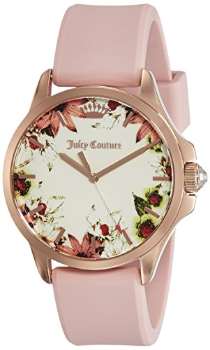 Juicy Couture Damen Datum klassisch Quarz Uhr mit Silikon Armband 1901485