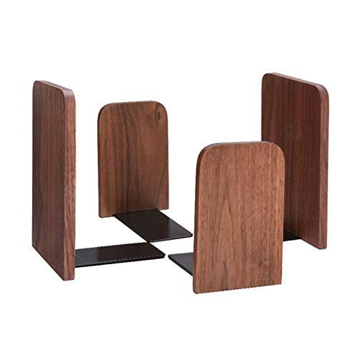 Sujeta Libros Sujetalibros Walnut Sookends Creative Wooden Sawend Booktop Storage Box Clip Soporte de libro engrosado, escritorio de oficina End para estantes, paquete de 2 pares Creativa Sujetalibros