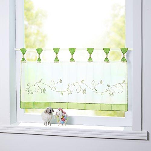 Joyswahl Scheibengardine Voile Bistrogardine Selina mit Blumen-Stickerei Muster Transparente Gardine HxB 45x90cm Grün 1er Pack