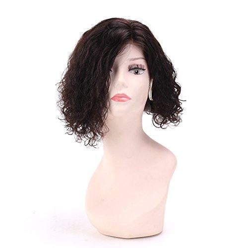 court bouclés perruque courte Bob Perruque Brun foncé 2 # 100% cheveux humains Perruques 130% de densité blanchis avec cheveux de bébé (style S05 #)