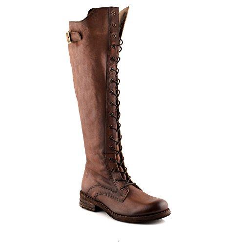 Felmini - Damen Schuhe - Verlieben Hardy A425 - Schnürung Hohe Stiefel - Echtes Leder - Braun - 37 EU Size