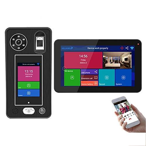 Videoportero inalámbrico WIFI, intercomunicación con timbre de video, cámara 1080P + monitor de 9 pulgadas, desbloqueo de la APP de reconocimiento facial de huellas dactilares