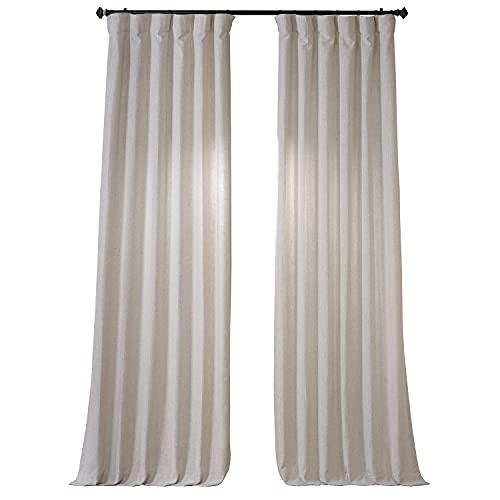 HPD Half Price Drapes FHLCH-VET13192-108 Heavy Faux Linen Curtain (1 Panel), 50 X 108, Barley
