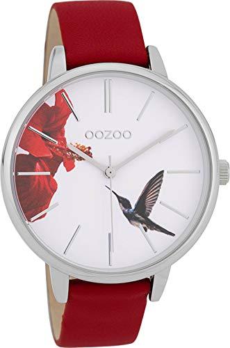 Oozoo Damenuhr mit Lederband 42 MM Vogel Blume/Rot C9762