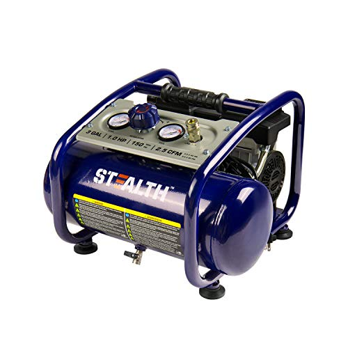Stealth Portable Ultra Quiet Air Compressor,3 Gallon,Oil-Free Pump,1HP,150 PSI,120V,60Hz Electric Air Tool SAQ-1301,Blue
