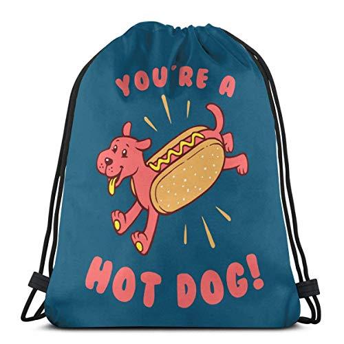 QUEMIN You'Re a Hot Dog Mochila para Exteriores Unisex Bolsa de Hombro Mochila de Viaje con cordón Mochila 14,2 x 16,9 Pulgadas / 36 x 43 cm
