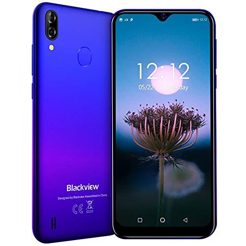Blackview A60 Proスマートフォン SIMフリースマートフォン本体 4Gスマホ本体 Android9.0 6.08インチ 92%画面占有率 5MP+ 8MP 3GB+16GB 4080mAh 顔認識 技適認証済み 携帯電話 1年間保証付き ブルー