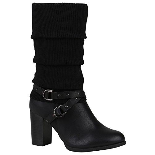 Damen Klassische Stiefel Gefütterte Boots Nieten Stulpen Schuhe 151517 Schwarz Nieten 36 Flandell