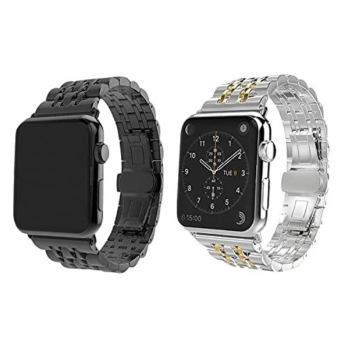 Bracelet en acier inoxydable en métal 38 mm 40 mm 42 mm 44 mm 6/5/4/3/2/1/SE Gamme complète de bracelets pour femmes et hommes, bracelets compatibles de remplacement (Silver-Gold, 38mm/40mm)